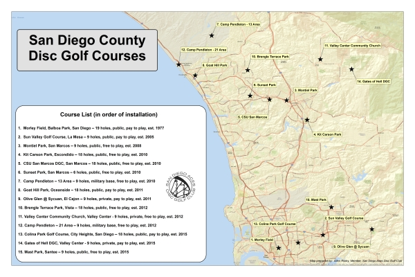 Csu San Marcos Campus Map.Courses San Diego Aces Disc Golf Club