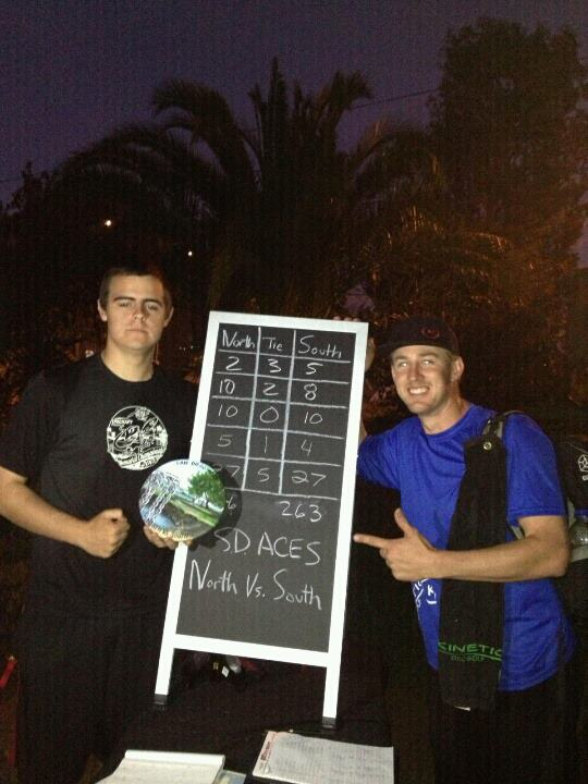 North Co-Captains A.J. Risley and Scott Miller pose with the scoreboard.